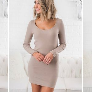 Dresses & Skirts - Taupe Long Sleeve Bodycon